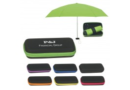 "Mini 37"" Manual Open Telescopic Folding Travel Umbrella with Case"