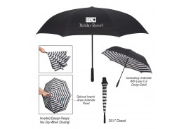 "48"" Manual Open Blanc Noir Inversion Umbrella"
