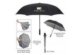 "48"" Manual Open Blanc Noir Inversion Umbrella"