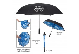 "48"" Manual Open Blue Skies Inversion Umbrella"