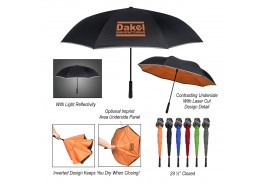 "48"" Arc Manual Open Reflective Edge Inversion Umbrella"