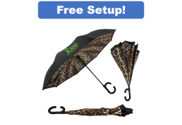 "46"" Manual Open Leopard ViceVersa Inverted Umbrella"