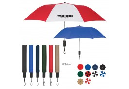 "Mini 44"" Auto Open Folding Umbrella with Rubber Comfort Grip"