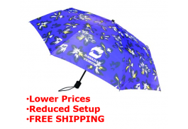 "Mini 42"" Manual Hibiscus Print Folding Umbrella"