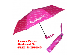 "Mini 42"" Auto Open Fashion Polka Umbrella"