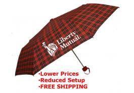 "Mini 42"" Manual Pocket Plaid Folding Umbrella"