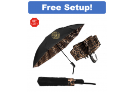 "46"" Auto Open & Close The Leopard Inverted Folding Umbrella"