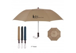 "Mini 44"" Auto Open Vented Telescopic Folding Umbrella with Wood Handle"